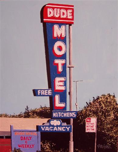 "$400The Dude Motel, West SacramentoPaul Guyeracrylic painting on composite board11"" x 14"" make it mine *selection by guest curator Kurt Yalcin of UGallery.com"