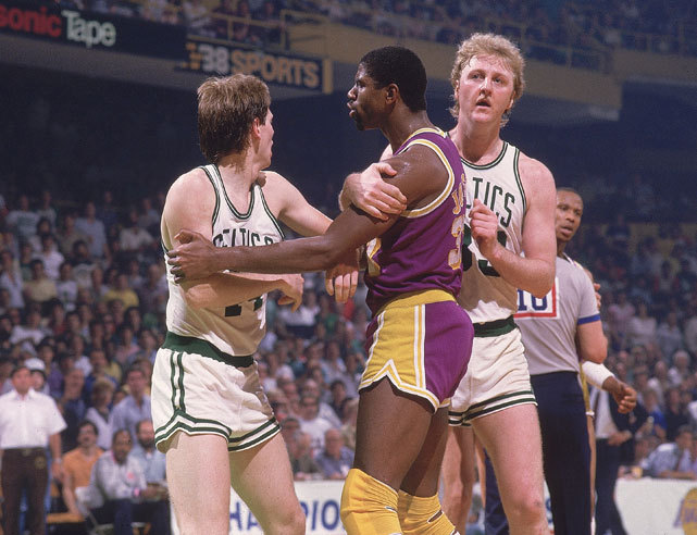 Larry Bird intervenes as an angry Magic Johnson has words with Danny Ainge during Game 2 of the 1985 NBA Finals. The Lakers would wind up winning the game in overtime on their way to an NBA championship. (Manny Millan/SI)GALLERY: Celtics vs. Lakers in the 1980s