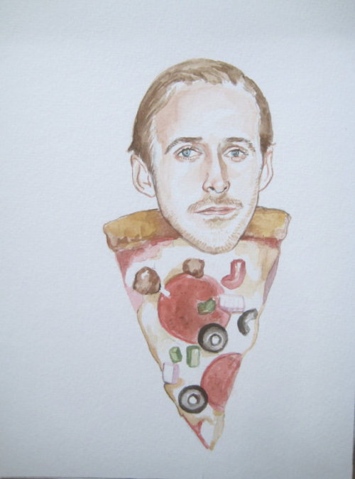carlsbergg:  madelinejames:  Ryan Gosling as a slice of everything pizza  i'm down with this.
