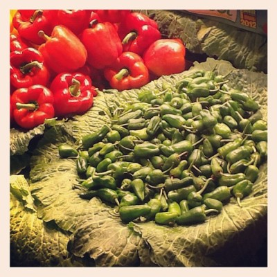 Bed of veggies! #vegetables #red #green #boqueria #ramblas #barcelona  (Taken with Instagram)