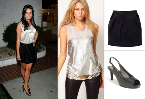Dress Like Lea Michele: 'Home Screening' Oasis Metallic Sequin Shell Top $68.98/£40.00 Trotters Omega Pump $98.95 Jersey Tulip Skirt £13.00