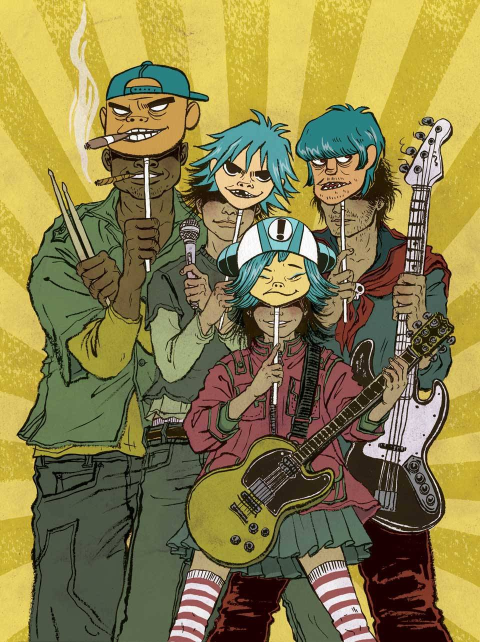 veilchendystopia:  SPIN  January 2006  Cartoon band Gorillaz's Feel Good Inc. was the 2005 single of the year the image was later used as cover for Indonesian illustration magazine BabyBoss.