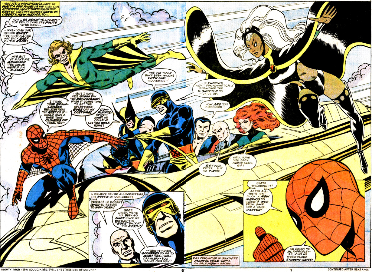 Marvel Team-Up #53, January 1977. Art by John Byrne and Frank Giacoia. Words by Bill Mantlo.  Beautiful. Bill Mantlo was a close family friend.