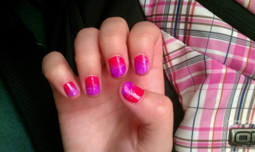 Painted my nails bright Barbie pink early this week and when they started to chip I just sponged on some white and then purple nail polish on top. Turned out pretty cool. And I didn't have to totally redo my nails :)
