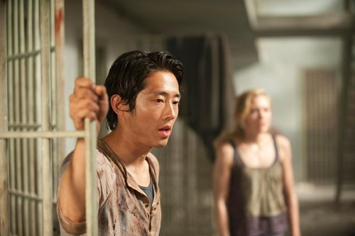 "koreamjournal:  Steven Yeun: Prison is 'claustrophobic' on 'Walking Dead'Today.com  ""It's claustrophobic,"" star Steven Yeun, who plays Glenn, told The Clicker of this season's setting, which was teased in the finale. ""Last year, we were really happy with the fact that outside, the outdoors (at the farm) was really another character that helped us do these themes because we were miserable. We looked miserable, but in a good way. This season, we were thinking, 'Oh man, once we go on stages, we're gonna really have to act out certain things.' But man, they did a great job and (the prison is) just as terrible as outside."""