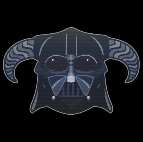 otlgaming:  DARTH DOVAHKIIN Created by SatireDesigns T-Shirts and Stickers Available on RedBubble (via insanelygaming)  Awesome.
