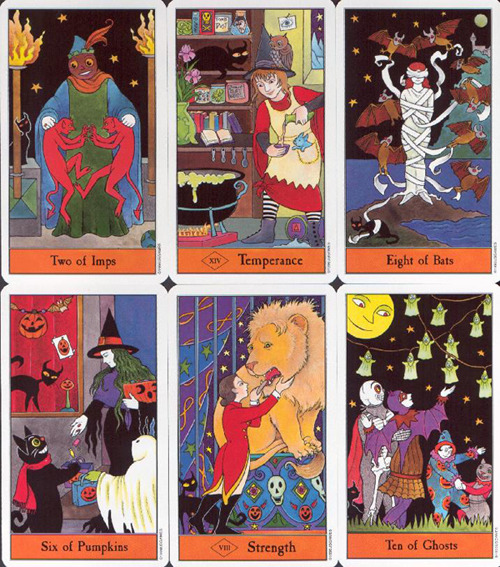 witchywonderworks:  Wonderworks Deck of the Week: The Halloween Tarot  By Kipling West Wonderworks adores The Halloween Tarot!  This playful take on the Rider-Waite-Smith tarot imagery is delightful, light-hearted and also easy to interpret. Follow the decks's resident black cat (representative of the knowledge seeker - the position the Fool takes in most decks) as she journeys through the Major and Minor Arcana. Through looking at the cat's position in each card, the reader gets a better idea of the querent's position relating to the situation or circumstance being inquired about. The traditional minor arcana suits of Pentacles, Swords, Wands and Cups are replaced with Pumpkins, Bats, Imps and Ghosts, respectively. The new suits still maintain their elemental attributions and general correspondences. The illustrations on each card are bright and whimsical, the colour pallett features predominantly oranges, greens, purples and black.  The Halloween Tarot also has reoccurring motifs related to the popular celebration of North American Halloween including candy corn, witches, bats, classic film monsters and jack-o-lanterns - all intermingling with traditional RWS tarot symbolism. Overall, the tone of this deck is carefree and jovial and the cartoonish illustration style only adds to this.  This deck is sure to delight Halloween enthusiasts and tarot collectors alike (though I'm sure there's a lot of overlap in those two groups!) This deck is accessible to read for anyone already familiar with RWS imagery, but would also be appropriate for beginners.  See Past Featured Decks -Wonderworks