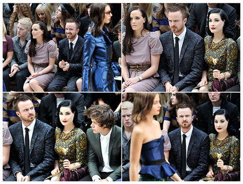 "thedailywhat:  Aaron Paul Does Fashion Week of the Day: Spotted — Aaron Paul, stashed in the front row at the Burberry show and clearly wondering, ""How did I get here?"" [bestweekever]"