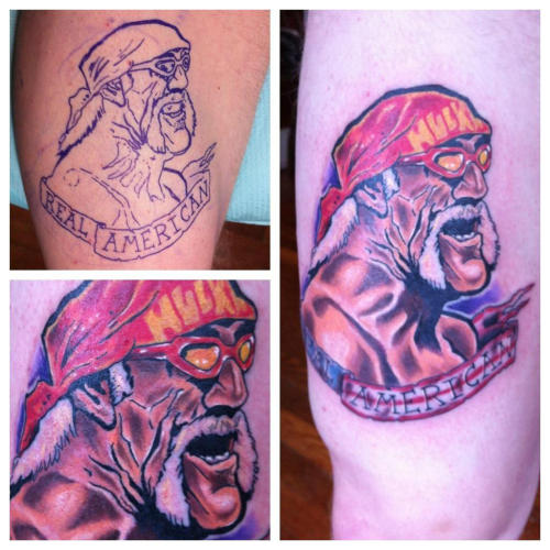Saw this on Twitter — absolutely stunned:   @Jakezilla:    @HulkHogan Hey man, I just tattooed this on my buddy, Ben! We have both been big fans for a long time.  Would any of you get a wrestling tattoo? Do any of you already have one?? Is there someone on Tumblr with a Goldberg tribal tat!?