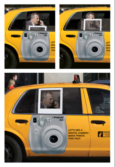 Let's see a digital camera make prints this fast, Polaroid Taxi Window Ad