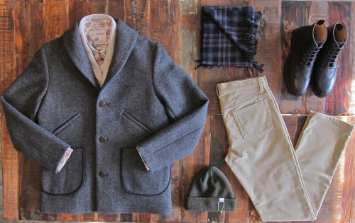 understudyshop:  Fall's Second Table wool overcoat: Folk herringbone vest: Reigning Champ shirt: Norse Projects scarf: Norse Projects beanie: Norse Projects corduroy pants: APC wingtip boots: APC