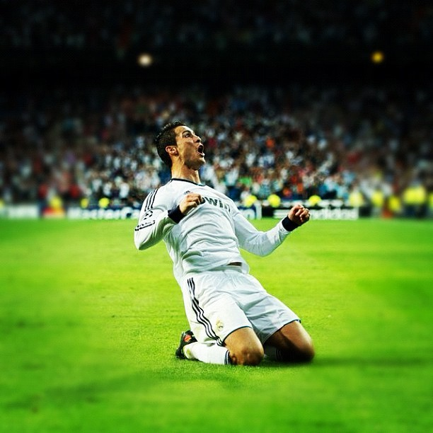 Cristiano Ronaldo, moments after scoring the winner for Real Madrid against Manchester City in the UEFA Champions League.