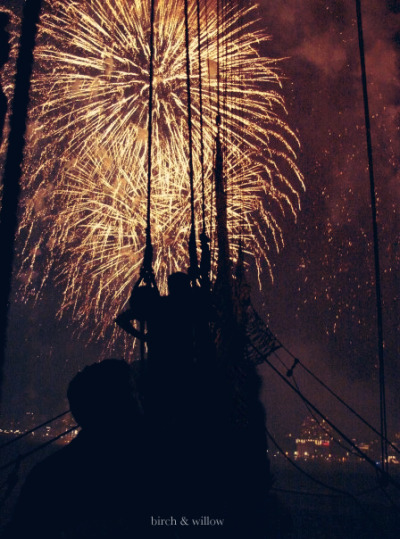 My photo from 2009…fireworks above the HMS Bounty in NYC.