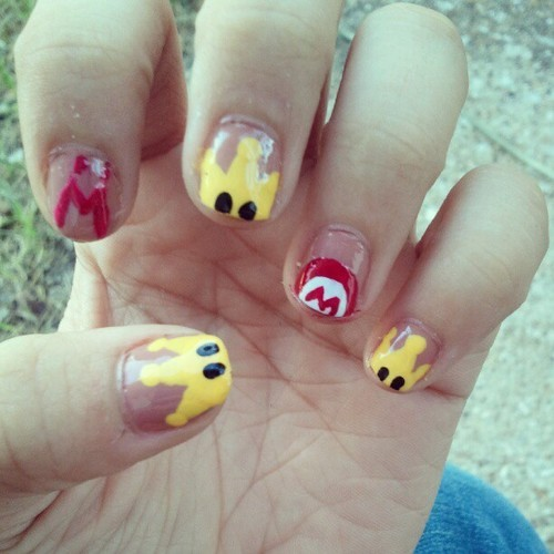 Felt a bit nostalgic today. Super Mario Sunshine Nails.