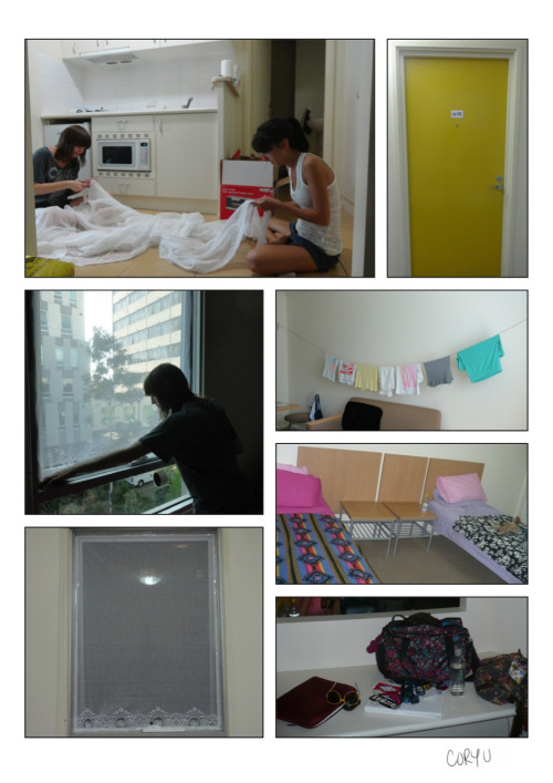 Welcome to my Melbourne apartment! It was the second time living with Dana; the first being apartment 404 at Vista Way, FL, which we'll never forget. Located just in the North part of Carlton, we were super close to the city, tram lines, & yummy Italian foods.  The strangest part was not having screens on our windows. Since we didn't want bugs (& Dana almost traveled with a bug net for her bed), we bought some lacy curtains & made our own DIY window coverings. The tape & lace proved to come in handy when we took them down six months later & found a good amount of bugs caught in amongst the tape. Another add-in was the yarn clothes-line strung together with 3M hooks.   Overall, we couldn't have been more happy to finally have our own beds & space again. Couch crashing is only fun for so long… Just wished the kitchen was bigger. Half our desk space later became more of a kitchen counter to make do with our limitations.  -Cory U