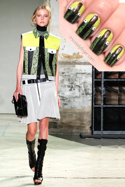 "MANICURE MUSE: Proenza Schouler Spring '13 We can always rely on Jack and Lazaro to push the modern envelope, but leave it to them to design a collection that mirrors the information overload of The Digital Age. For Spring '13, Proenza Schouler looks to Tumblr for inspiration by featuring photo prints of random images found on the site. But it was the open patchwork and perforated leather in hi-def colors of electric acid green and red with black and white that stole the show for me. The recolored snakeskin and digital prints incorporated into the color blocking gives the collection a techno-feel. Call me ""easy to please,"" but somehow the beginning look of a show makes the biggest impact. I just can't seem to shake how amazing this opening number is. Click here for nail colors and step-by-step instructions!"