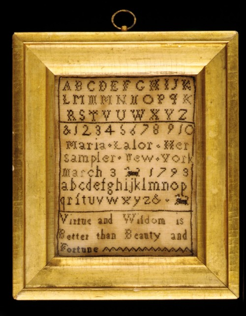 Sampler by Maria Lalor, New York City, 1793. Metropolitan Museum of Art