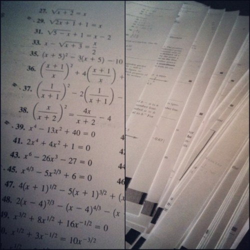 You know, no big deal. Just a few 100+ math problems to do by NEXT Wednesday. Thank goodness I'm a genius. And don't sleep. 😌😏😒😔 #PROcrastinator (Taken with Instagram)