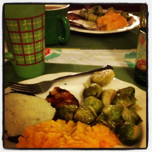 Steamed brussel sprouts, mashed butternut squash, and open faced dr. Praegers veggie burgers with melted provolone (Taken with Instagram)