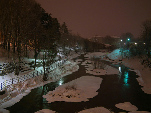 redbirdinthesnow:  Reflections on Vantaa River by BigWhitePelican on Flickr.