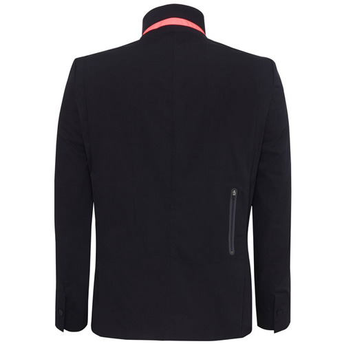 "BUSINESS IN FRONT ""Tailored and technical, the Rapha Lapelled Jacket is a cycling jacket that is perfect on the bike or in the boardroom. The jacket features stretchy elastane, DWR water-repellent coating, a windproof front lining, dirt resistance, storm collar, and high visibility tape in Rapha's signature pink."" - Acquire via Acquire via Rapha"
