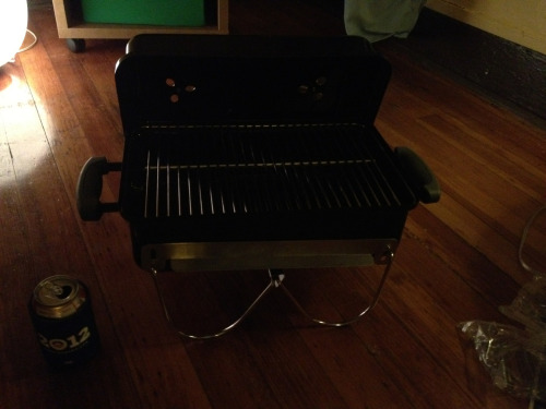 1f got me a grill for my new appy for my bday. Grills have, historically, been a pretty big deal to me so i have feelings about it.  We are about to inaugurate it with some brats and some honeycrisp slices.