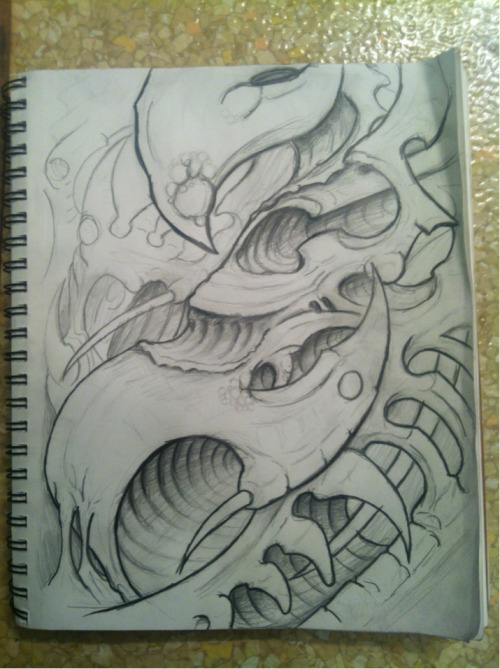 A sketch for a future biomech/organica painting or tattoo.