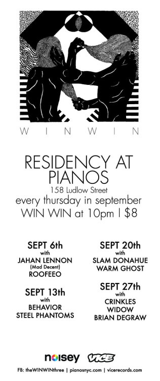 COME OUT TO PIANOS THIS THURSDAY NIGHT!  September 20th 9pm Slam Donahue 10pm Win Win 11pm Warm Ghost 12am DJs 8pm til late $8 | 21+ Pianos 158 Ludlow Street, NYC JMZ or F to Essex St. More info here: http://tktwb.tw/PFsDLu