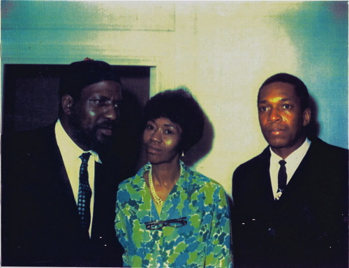 Thelonious Monk and Nellie Monk at their home with John Coltrane in the late 1950s (photo courtesy of T.S. Monk)