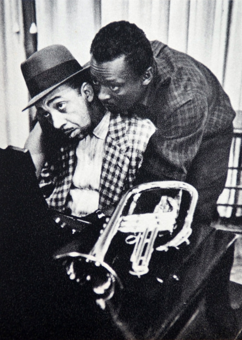 Red Garland and Miles Davis during a recording session, New York City, circa 1955 (photo by Dennis Stock)