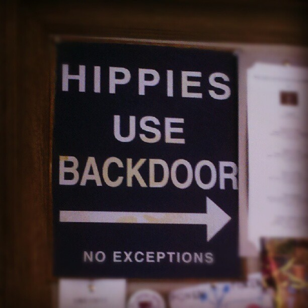 Ooooook! Hahaha #hippies #sign #santabarbara #winetasting #funny  (Taken with Instagram)