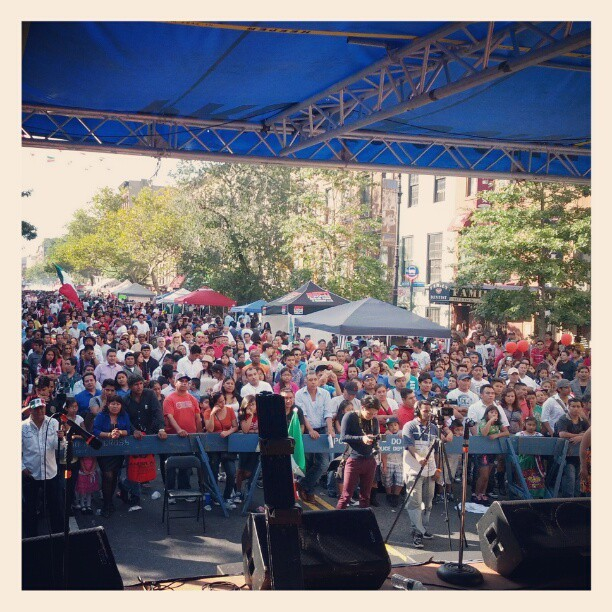The crowd up in East Harlem for the Mexican Independence Day Festival. #EastHarlem #mexican #crowd #flag #latergram  (Taken with Instagram)