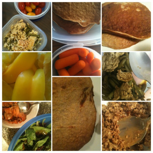MY CLEAN EATS: Tuesday, September 18th, 2012 pancakes (with one overripe banana), CleanNutCup pancakes pancakes, baby carrots extra lean ground turkey, green beans extra lean ground turkey, green beans, brown rice, grape tomatoes bell peppers Ezekiel cereal, peanut butter salmon, mixed greens salad with fig vinegar WOD: 45 minutes of stepmill. My entire body is sore, especially my glutes! Honestly, it's difficult to walk on ground level, let alone the stairs. It hurts to sit and worse to get up. It has been a while since I have had this burn but I like it! Pain is temporary and I know I did a good job lifting on Monday.  2012/2013 GOAL: TIGHTER GLUTES!