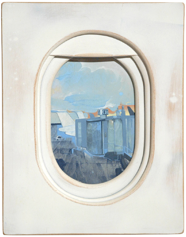 tristetriste:  Windows by Jim Darling  Painter and designer Jim Darling has a fresh take on the view from an airplane window. His six paintings, display the classic airplane window complete with pull down shade, rendered in a classic trompe d'oeil technique of the old masters. Within the window are wonderfully abstracted scenes capturing the essence of patchy farmlands, nighttime aerials of lit cities and skylines. Mr. Darling's graphic design background includes work with MTV, Coor's Light and Cambell's Chicken Noodle Soup, each picture strongly rooted in his ability to draw. His illustrative mastery and graphic have pulled together in these fun oil on wood panels. The airplane series is part of a larger collection exhibited at Open Space in Beacon, NY. Other paintings in the collection are themed with aircraft flight, and include a few humorous yet artful caricatures of passengers. Jim Darling definitely has created a spirited way of looking at the world.