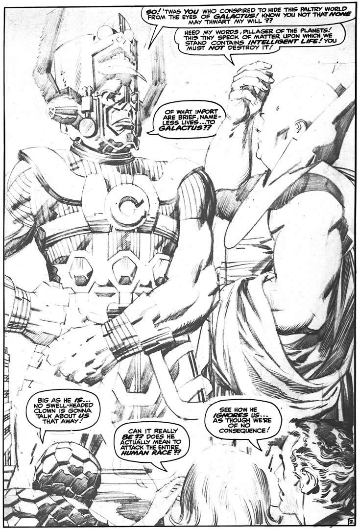 themarvelageofcomics:  Here are Jack Kirby's uninked pencils to a page from FANTASTIC FOUR #49. This was Galactus' second appearance on panel.