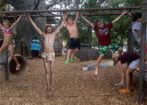 jesus-everywhere:  Jesus On The Monkey Bars by reszegbroker