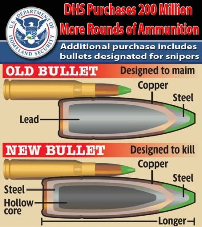 "fightitrightnow:  DHS Purchases 200 Million More Rounds of AmmunitionAdditional purchase includes bullets designated for snipersFollowing controversy over its purchase of around 1.2 billion bullets in the last six months alone, the Department of Homeland Security has put out a new solicitation for over 200 million more rounds of ammunition, some of which are designated to be used by snipers. A series of new solicitations posted on the FedBizOpps website show that the DHS is looking to purchase 200 million rounds of .223 rifle ammunition over the next four years, as well as 176,000 rounds of .308 caliber 168 grain hollow point boat tail (HPBT) rounds in addition to 25,000 rounds of blank .308 caliber bullets.As James Smith over at the Prepper Podcast website highlights, ""It is the type of ammunition and not necessarily the quantity that is troubling.""Smith points out that the DHS' acquisition of .308 rounds is of concern because they are set to be used by well-trained snipers.""All of the sniper grade ammunition is being used by trained, or in-the-process-of-being-trained snipers,"" writes Smith, noting that the math adds up to 135,384 potential kills for the snipers to make, using the 176,000 rounds of ammunition, basing the figures on the fact that United States Army and Marine Corps snipers in the Vietnam War expended 1.3 rounds of ammunition for each claimed and verified kill.As this police training website documents, .308 caliber 168 grain bullets are the ammunition of choice for experienced law enforcement snipers.The number of bullets purchased by the DHS now adds up to a staggering 1.4 billion over the last six months alone. Although all those bullets won't be delivered at once, the DHS' commitment to purchasing such an arsenal of ammo is both worrying and ironic given that Americans are being harassed and treated with suspicion for buying a couple of boxes of ammo at their local gun store.Following a barrage of questions about why the federal agency has purchased so many bullets, the DHS has refused to respond and even gone to the lengths of censoring information relating to solicitations for ammunition.The DHS' decision back in March to purchase of 450 million rounds of .40-caliber hollow point bullets that are designed to expand upon entry and cause maximum organ damage prompted questions as to why the federal agency required such powerful bullets and in such large quantities merely for training purposes.This was followed up by a more recent order for a further 750 million rounds of assorted ammunition, including bullets that can penetrate walls.The mainstream media responded to the controversy by focusing on a purchase of 174,000 bullets by the Social Security Administration while completely ignoring the fact that the DHS had purchased well over a billion rounds.Although the Associated Press and other media outlets dismissed concerns over the federal government purchasing large quantities of ammunition as paranoia, the fact that the DHS is preparing for civil unrest cannot be denied.Having recently acquired riot gear, the DHS also purchased a number of bullet-proof checkpoint booths that include 'stop and go' lights.Last year, Department of Homeland Security chief Janet Napolitano directed ICE to prepare for a mass influx of immigrants into the United States, calling for the plan to deal with the ""shelter"" and ""processing"" of large numbers of people.The U.S. Army has also been preparing for domestic disorder.A recently leaked US Army Military Police training manual for ""Civil Disturbance Operations"" outlines how military assets are to be used domestically to quell riots, confiscate firearms and even kill Americans on U.S. soil during mass civil unrest.On page 20 of the manual, rules regarding the use of ""deadly force"" in confronting ""dissidents"" are made disturbingly clear with the directive that a, ""Warning shot will not be fired.""The manual includes lists of weapons to be used against ""rioters"" or ""demonstrators,"" including ""antiriot grenades."" It also advises troops to carry their guns in the ""safe port arms"" stance, a psychological tactic aimed at ""making a show of force before rioters."" Non-lethal weapons and water cannons are also included.http://www.infowars.com/dhs-purchases-200-million-more-rounds-of-ammunition/"