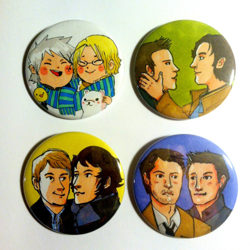 Thanks for the reminder.  The second half of the commissioned buttons. Ahh, so fun and colorful. I like how strong prismacolors are.