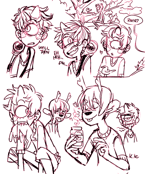 more scribblies. o: oh yeah i dont know if i mentioned this before but river has a carnivorous diet. they physically can't eat vegetation without getting really sick. and forrest is the opposite. also his favorite food is candied cherries.
