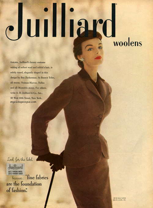 theniftyfifties:  Model wearing a Juilliard wool suit by Ben Zuckerman, 1953.