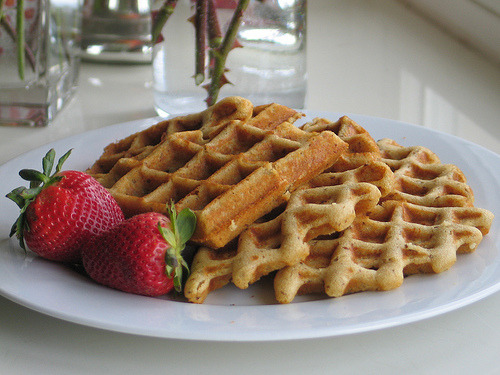 Gluten-free waffles with strawberries.