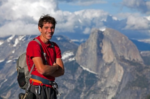 Alex Honnold is the world's most famous rock climber. His reputation is based not only on the size of the peaks he scales, but also on the unbelievable fact that he climbs without a rope. This dangerous technique, known as free soloing, is a form of climbing that forgoes protective gear of any kind and relies entirely on physical strength and mental fortitude.  Honnold first captured national attention in 2008 when he became the first person to free solo the 2000ft North West Cliff Face of Half Dome in Yosemite National Park. The average time required to complete the climb with a harness is about 2 days. Alex completed the climb in under 3 hours.  In 2012 Honnold improved this time to 1 hour and 22 minutes.