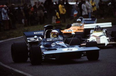 yellow vision …Jacky Stewart (ELF Tyrrell-Ford 003) leading Pedro Rodriguez (Yardley BRM P160) & Denny Hulme (McLaren-Ford M14A) at Zandvoort, 1971 Dutch Grand Prix