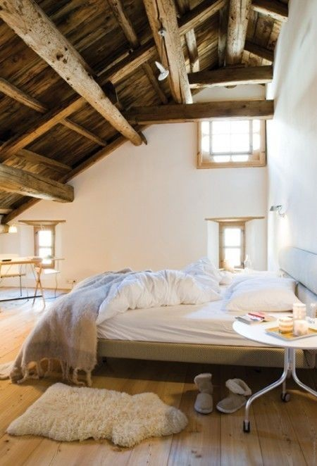 rustic bedroom in the attic