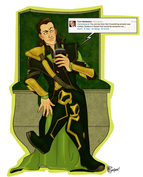 A commission of Loki for Sarah, who was tweeted to by Tom Hiddles, and of course that would just make any fangirl super excited. Thanks for being so patient for this, gurl! His details are pretty tough to get right.. I don't know how Loki fanartists do it, haha! I kept wanting to shade it for some reason.. Haven't done a fully shaded piece in awhile, I am way too impatient!! :D Enjoy!