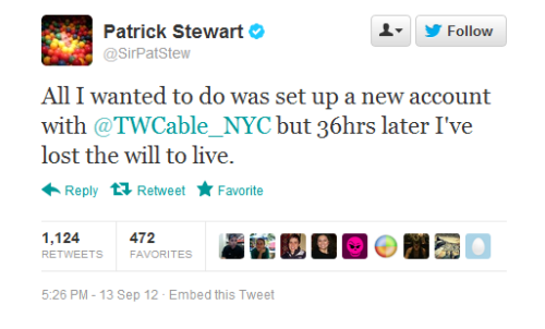 inothernews:  If Jean-Luc Picard can't get love from the cable company, then probably neither can you.