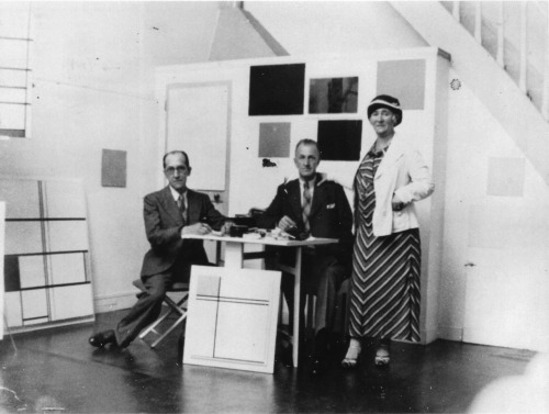 Mondrian with his brother Carel and Carel's wife Mary at the 278 boulevard Raspail studio, 1930s