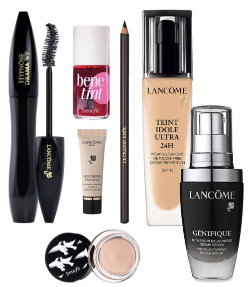 Things I can't live without:)xx Lancôme Hypnoses Drama mascara, Lancôme Teint Idole Ultra foundation, Benefit birthday suit Creme eye shadow and lip tint, Lancôme eyeliner, Lancôme youth activator gel.