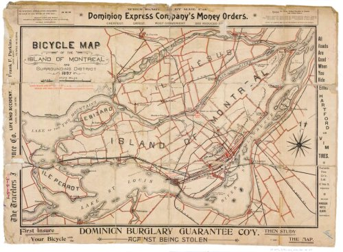 mypantsareonfire:  bicycle map of montreal, canada 1897