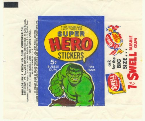 rcmerchant:  super hero stickers gum wrapper-I remember these-from the 60's Me too. (1966)